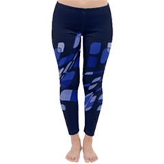 Blue Abstraction Winter Leggings  by Valentinaart