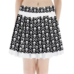 Skull And Crossbones Pattern Pleated Mini Mesh Skirt by ArtistRoseanneJones