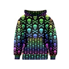 Rainbow Skull And Crossbones Pattern Kids  Pullover Hoodie