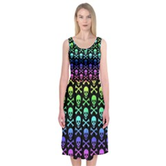Rainbow Skull And Crossbones Pattern Midi Sleeveless Dress by ArtistRoseanneJones