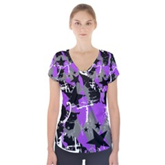 Purple Scene Kid Short Sleeve Front Detail Top by ArtistRoseanneJones