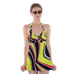 Colors Of 70 s Halter Swimsuit Dress