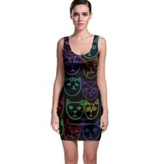 Retro Rainbow Cats  Sleeveless Bodycon Dress