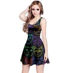 Retro Rainbow Cats  Reversible Sleeveless Dress