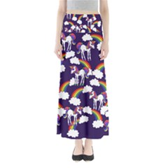 Retro Rainbows And Unicorns Maxi Skirts by BubbSnugg
