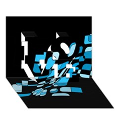 Blue Abstraction Love 3d Greeting Card (7x5)