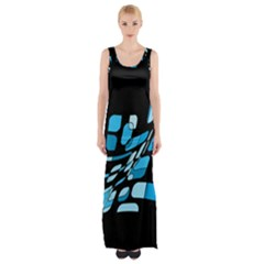 Blue Abstraction Maxi Thigh Split Dress by Valentinaart