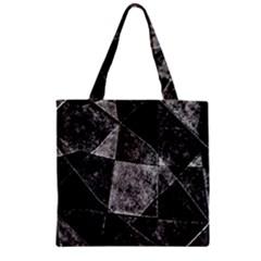 Dark Geometric Grunge Pattern Print Zipper Grocery Tote Bag by dflcprints