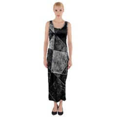 Dark Geometric Grunge Pattern Print Fitted Maxi Dress by dflcprintsclothing