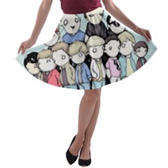 Goonies Vs Monster Squad A-line Skater Skirt by lvbart