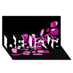 Purple Abstraction Believe 3d Greeting Card (8x4)