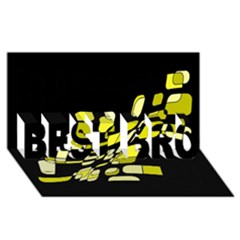 Yellow Abstraction Best Bro 3d Greeting Card (8x4)