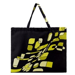 Yellow Abstraction Zipper Large Tote Bag by Valentinaart