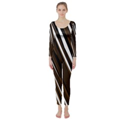 Black Brown And White Camo Streaks Long Sleeve Catsuit by TRENDYcouture