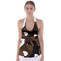 Black Brown And White Abstract 3 Babydoll Tankini Top