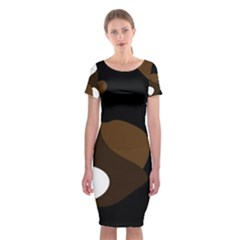 Black Brown And White Abstract 3 Classic Short Sleeve Midi Dress