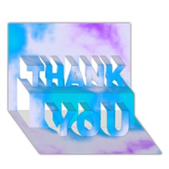 Blue And Purple Clouds Thank You 3d Greeting Card (7x5)