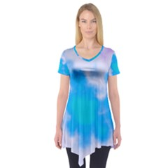 Blue And Purple Clouds Short Sleeve Tunic  by TRENDYcouture