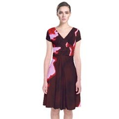Crimson Sky Short Sleeve Front Wrap Dress by TRENDYcouture