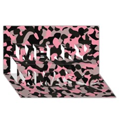 Kitty Camo Merry Xmas 3d Greeting Card (8x4)