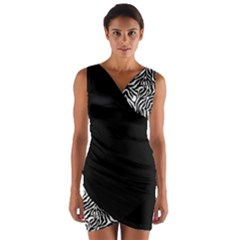 Zebra 01 Wrap Front Bodycon Dress by Wanni