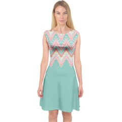 Tribal3 Capsleeve Midi Dress by Wanni
