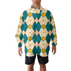 Blue Yellow Rhombus Pattern                                                                                 Wind Breaker (kids)