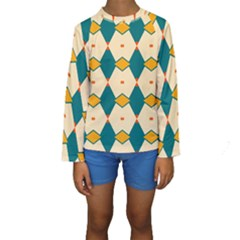 Blue Yellow Rhombus Pattern                                                                                  Kid s Long Sleeve Swimwear by LalyLauraFLM