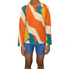 Shapes In Retro Colors                                                                                   Kid s Long Sleeve Swimwear by LalyLauraFLM