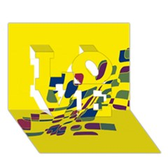 Yellow Abstraction Love 3d Greeting Card (7x5)
