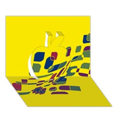 Yellow Abstraction Apple 3d Greeting Card (7x5)