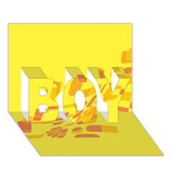 Yellow Abstraction Boy 3d Greeting Card (7x5)