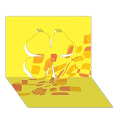 Yellow Abstraction Clover 3d Greeting Card (7x5)  by Valentinaart