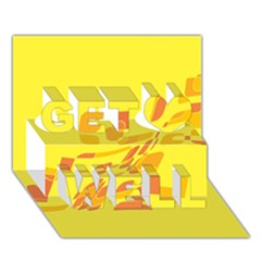 Yellow Abstraction Get Well 3d Greeting Card (7x5)