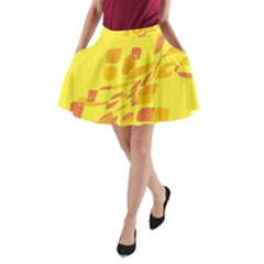 Yellow abstraction A-Line Pocket Skirt by Valentinaart