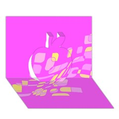 Pink Abstraction Apple 3d Greeting Card (7x5)  by Valentinaart