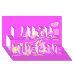 Pink Abstraction Laugh Live Love 3d Greeting Card (8x4)  by Valentinaart