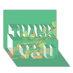 Green Abastraction Thank You 3d Greeting Card (7x5)