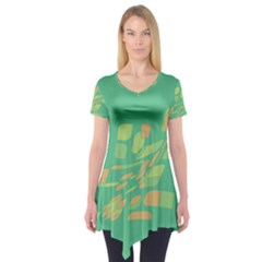 Green Abastraction Short Sleeve Tunic