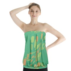 Green Abastraction Strapless Top