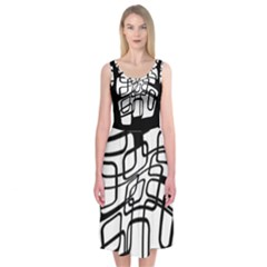 White Abstraction Midi Sleeveless Dress by Valentinaart
