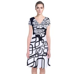 White abstraction Short Sleeve Front Wrap Dress