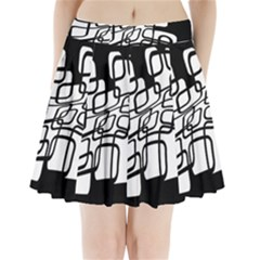 White abstraction Pleated Mini Mesh Skirt