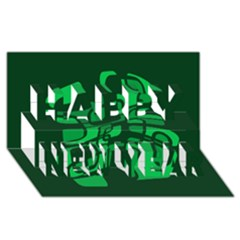 Green Abstraction Happy New Year 3d Greeting Card (8x4)  by Valentinaart