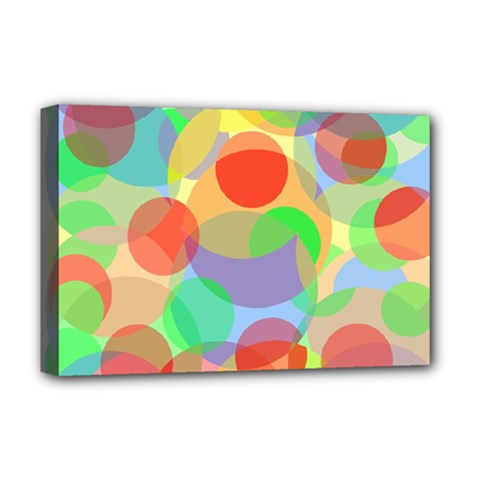 Colorful Circles Deluxe Canvas 18  X 12   by Valentinaart