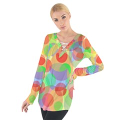 Colorful circles Women s Tie Up Tee by Valentinaart