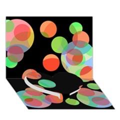 Colorful Circles Heart Bottom 3d Greeting Card (7x5)