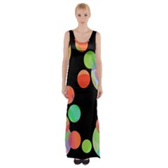 Colorful Circles Maxi Thigh Split Dress by Valentinaart