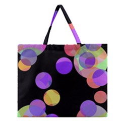 Colorful Decorative Circles Zipper Large Tote Bag by Valentinaart