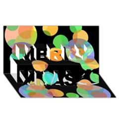Orange Circles Merry Xmas 3d Greeting Card (8x4)  by Valentinaart